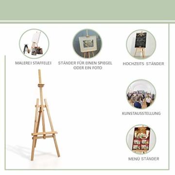 Staffelei holz groß Kinder - Leinwand Ständer Staffeleien für Maler aus Buchenholz 180 cm höhenverstellbar - 4