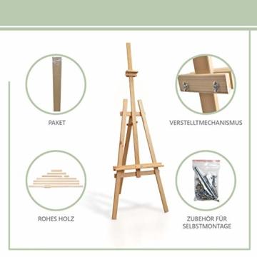 Staffelei holz groß Kinder - Leinwand Ständer Staffeleien für Maler aus Buchenholz 180 cm höhenverstellbar - 5