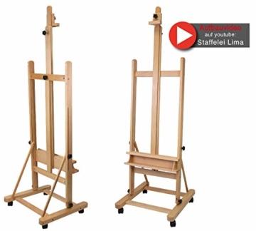 Staffelei Lima XL, für Keilrahmen bis 220 cm, aus massiver Buche FSC, große standfeste Atelierstaffelei - 2