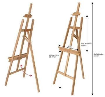 Staffelei MALTA aus Buchenholz FSC, Keilrahmen bis 110 cm Höhe, Mal- und Präsentationsstaffelei vom Künstler-Fachhandel - 2