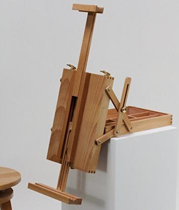 """Tischstaffelei """"MERAN"""" mit Malkoffer, aus Buchenholz (FSC®- zertifiziert), für Keilrahmen bis max. 70cm, Sitzstaffelei, Kofferstaffelei - 1"""