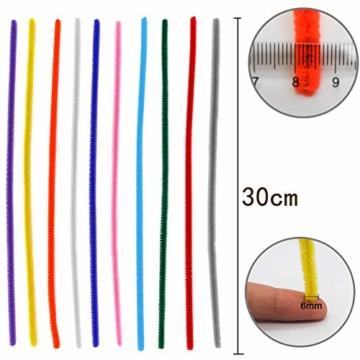 TOAOB 100 Stück Pfeifenreiniger Chenilledraht Bunt Biegeplüsch 6mm Breit 30cm Lang für Basteln und Dekorieren - 2