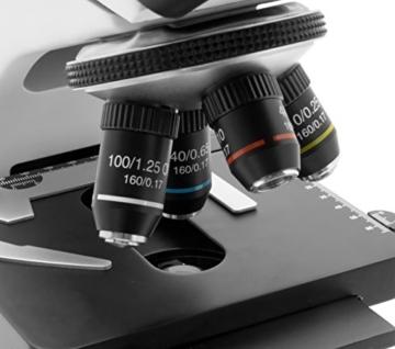 TS-Optics TSMSCM100T Binokular Trinokular Durchlicht Mikroskop für Labor bis max. 1000-fache Vergrößerung, Objektiv mit 4 Achromaten dimmbare LED - 4