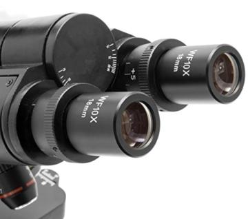 TS-Optics TSMSCM100T Binokular Trinokular Durchlicht Mikroskop für Labor bis max. 1000-fache Vergrößerung, Objektiv mit 4 Achromaten dimmbare LED - 7