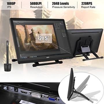 Ugee 2150 21.5 Zoll 1080P HD Grafikmonitor ,Grafiktablett, Grafik Zeichnung Tablette, IPS Bildschirm, Einstellbar Monitor Anzeigen Stand, W / 2 x Intelligenter Stift, 5080LPI Auflösung - 3