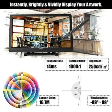 Ugee 2150 21.5 Zoll 1080P HD Grafikmonitor ,Grafiktablett, Grafik Zeichnung Tablette, IPS Bildschirm, Einstellbar Monitor Anzeigen Stand, W / 2 x Intelligenter Stift, 5080LPI Auflösung - 9