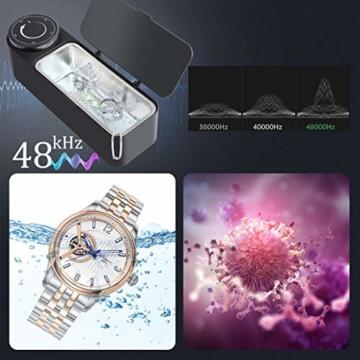 Ultraschallreinigungsgerät Brille 48KHz, 650ml Professioneller Ultraschallreiniger Brille zur Schmuckreinigung mit Timer, Soft Touch, Geräuscharm, Sauberer Schmuck, Diamanten, Uhren - 4