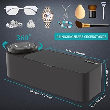 Ultraschallreinigungsgerät Brille 48KHz, 650ml Professioneller Ultraschallreiniger Brille zur Schmuckreinigung mit Timer, Soft Touch, Geräuscharm, Sauberer Schmuck, Diamanten, Uhren - 6