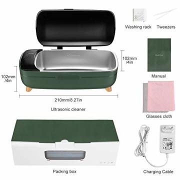 Ultraschallreinigungsgerät,Esolom Ultraschallreiniger Ultraschallgerät aus Edelstahl 400ml, Timing-Funktion, Hochtemperaturschutz für Brillen Uhren Schmuck Ringe Halsketten Rasierer Zahnersatz - 8