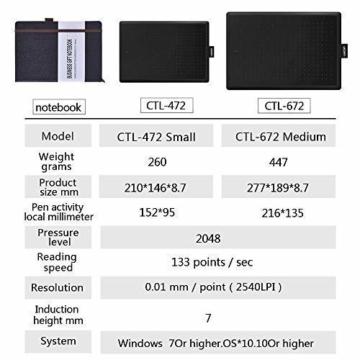 Wacom One CTL-472-N Creative Pen Tablet zum Zeichnen Schwarz, Größe S - 10