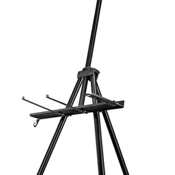 Walimex pro Aluminium Atelierstaffelei XL 180 cm - Grosse Staffelei mit weitem Einsatzbereich, für Leinwand bis 140cm Höhe und 4cm Tiefe, nur 1,12kg, Halterung für Farben, Pinsel, Tücher, inkl. Tasche - 4