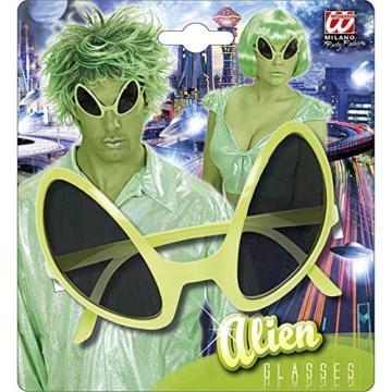 Widmann 0347O - Brille von Außerirdischem, Accessoire, Halloween, Mottoparty, Karneval, Grün - 2