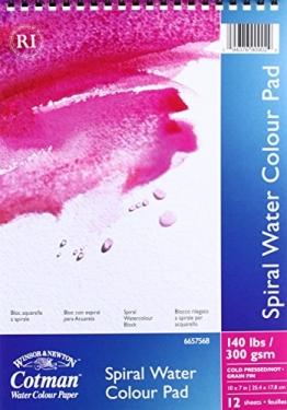 Winsor & Newton Cotman Aquarellpapier, Spiralblock, 12 Blatt, 300g/m², 17 x 25 cm -