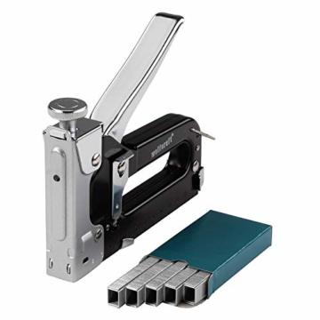 wolfcraft Tacocraft 7 Handtacker Set 7089000 | Leistungsstarker Werkzeugtacker mit regulierbarer Schusskraft inkl. 1000 8 mm Klammern | Ideal für anspruchsvolle Arbeiten und Renovierungen - 1