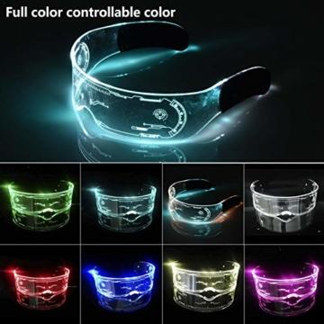 XIAMUSUMMER Halloween-LED-Leuchtbrille – Neonbrille – Cyberpunk LED-Visier Brille – Futuristische elektronische Visierbrille – für Party, Disco, DJ, Musik, Konzert, Live, Verkleidung - 2