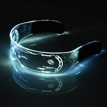 XIAMUSUMMER Halloween-LED-Leuchtbrille – Neonbrille – Cyberpunk LED-Visier Brille – Futuristische elektronische Visierbrille – für Party, Disco, DJ, Musik, Konzert, Live, Verkleidung - 3