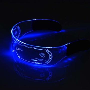 XIAMUSUMMER Halloween-LED-Leuchtbrille – Neonbrille – Cyberpunk LED-Visier Brille – Futuristische elektronische Visierbrille – für Party, Disco, DJ, Musik, Konzert, Live, Verkleidung - 4