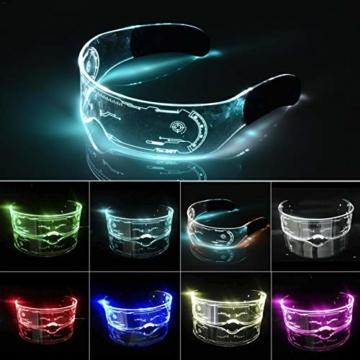 XIAMUSUMMER Halloween-LED-Leuchtbrille – Neonbrille – Cyberpunk LED-Visier Brille – Futuristische elektronische Visierbrille – für Party, Disco, DJ, Musik, Konzert, Live, Verkleidung - 1