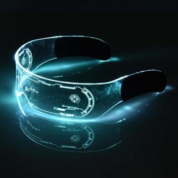 XIAMUSUMMER Halloween-LED-Leuchtbrille – Neonbrille – Cyberpunk LED-Visier Brille – Futuristische elektronische Visierbrille – für Party, Disco, DJ, Musik, Konzert, Live, Verkleidung - 5