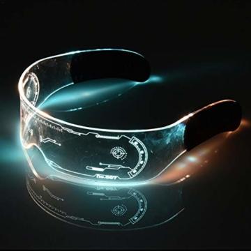 XIAMUSUMMER Halloween-LED-Leuchtbrille – Neonbrille – Cyberpunk LED-Visier Brille – Futuristische elektronische Visierbrille – für Party, Disco, DJ, Musik, Konzert, Live, Verkleidung - 6