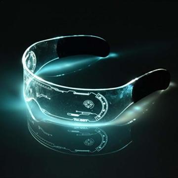 XIAMUSUMMER Halloween-LED-Leuchtbrille – Neonbrille – Cyberpunk LED-Visier Brille – Futuristische elektronische Visierbrille – für Party, Disco, DJ, Musik, Konzert, Live, Verkleidung - 7