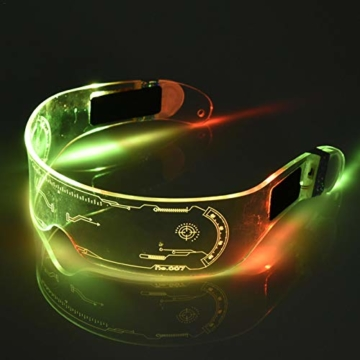 XIAMUSUMMER Halloween-LED-Leuchtbrille – Neonbrille – Cyberpunk LED-Visier Brille – Futuristische elektronische Visierbrille – für Party, Disco, DJ, Musik, Konzert, Live, Verkleidung - 8