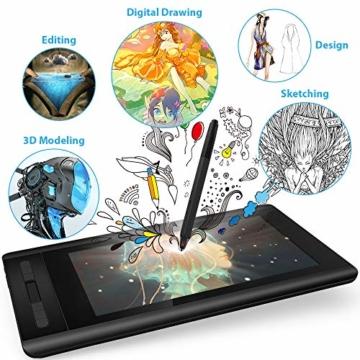 XP-PEN Artist 12 Grafikmonitor Drawing Pen Tablet Pen Display 1920 X 1080 HD IPS mit Touch Bar Zeichnen Stift P06 mit dem Radiergummi zum Fernunterricht Home-Office (Artist 12) - 2