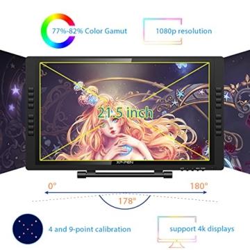 XP-PEN Artist 22E Pro HD IPS Grafikmonitor Drawing Tablet 8192 Druckstufen mit 16 Schnellzugriffstasten unterstützt 4k Monitore Windows 10/8/7 und Mac OS 10.8 (22E Pro, Schwarz) - 3