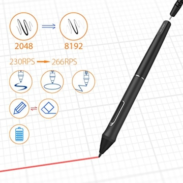 XP-PEN Artist 22E Pro HD IPS Grafikmonitor Drawing Tablet 8192 Druckstufen mit 16 Schnellzugriffstasten unterstützt 4k Monitore Windows 10/8/7 und Mac OS 10.8 (22E Pro, Schwarz) - 7