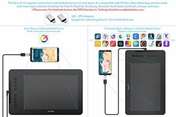 XP-PEN Deco 01 V2 Grafiktablett Drawing Tablet Neigungsfunktion Mobiles Zeichentablett zum Malen & für Fotobearbeitung für Fernunterricht Home-Office - 7