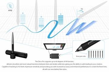 XP-PEN Deco Pro Small 13x7 Zoll Grafiktablett Pen Tablet Mobiles Grafiktablett zum Zeichnen für Fernunterricht Home-Office mit Doppelrad 8192 Druckstufen - 6