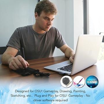 XP-PEN G430S 4X 3 Zoll Grafiktablett OSU! Spielen Pen Tablet Stift Tablett 8192 Druckempfindlichkeitsstufen für Fernunterricht Home-Office (G430S, Schwarz) - 8