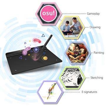 XP-PEN G640 6 x 4 Zoll Drawing Tablet Grafiktablett Pen Tablet OSU! Spielen für Fernunterricht Home-Office 20 Ersatz Nibs (G640, Schwarz) - 2
