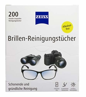 ZEISS Brillen-Reinigungstücher (200 Stk), NEUE Formulierung zur schonenden & gründlichen Reinigung Ihrer Brillengläser - 1