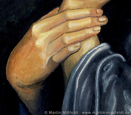 Frauenhand: deckende Gouachefarben