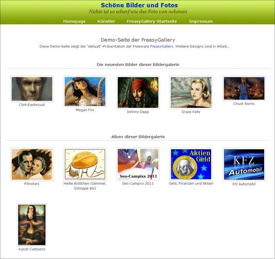 Demo-Screen: Öffentliche Startseite