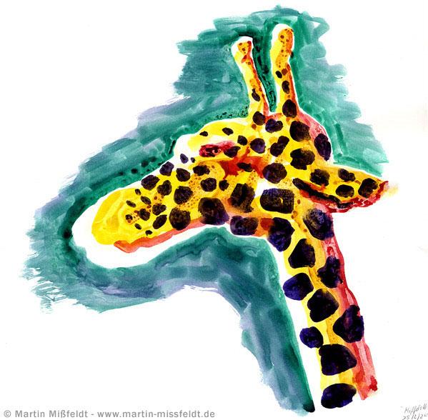Giraffe: lasierende leuchtende Aquarellfarben