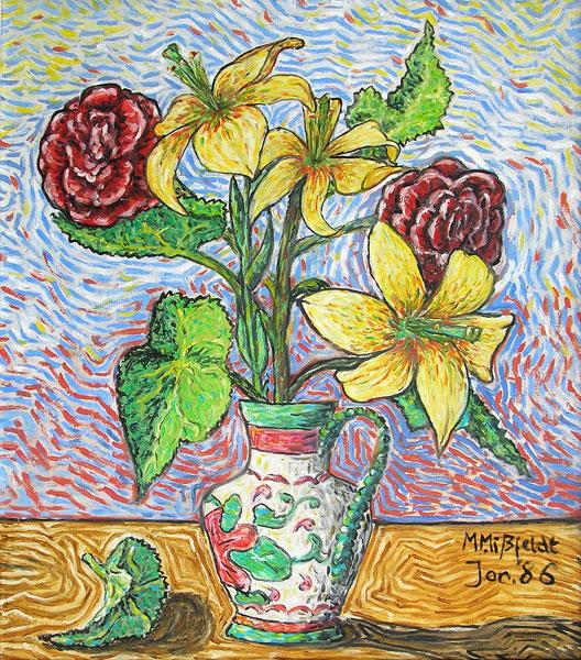 Kunstmalerei: gelbe Lilien und rote Tulpen
