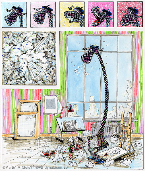Lustiger Cartoon: schöne Kunst-Druckgrafik