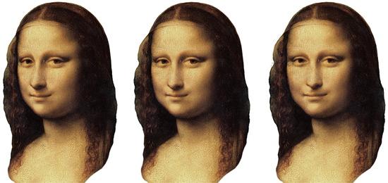 Mona Lisa Kopf (drei Ansichten)